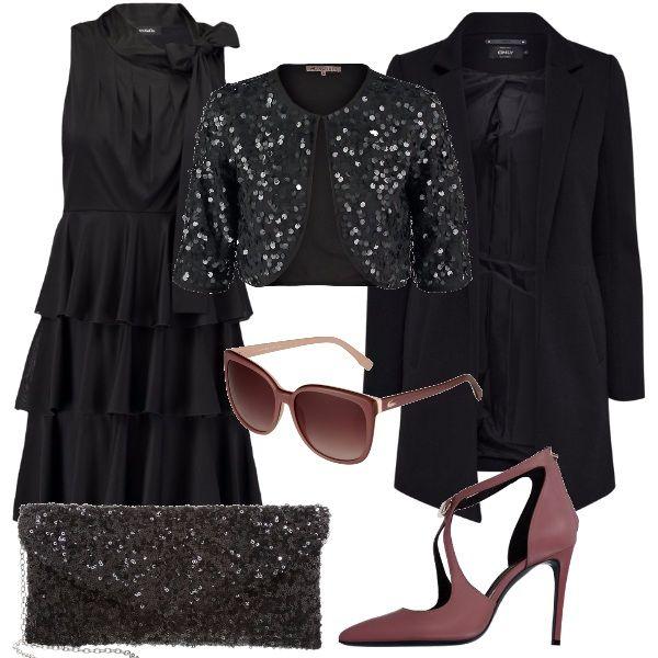 Per questo outfit: vestito nero con balze e fiocco al collo, coprisalle con paillettes nero, cappottino nero dal taglio minimal, pochette con paillettes a riprendere il coprispalle, meravigliose scarpe rosa dusty cedar, e occhiali rosa coordinati.