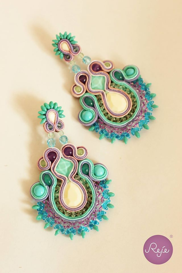 Summer colorful  soutache earrings, Reje creations 100% handmade in Italy