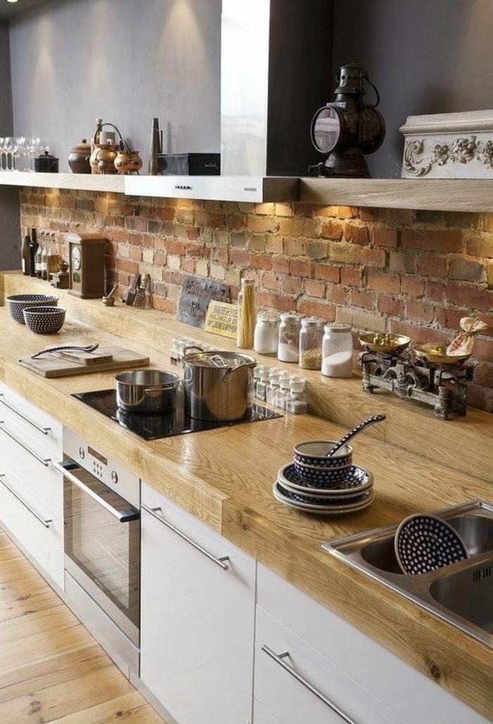 cuisine bois massif, cuisine scandinave, plan de travail bois massif