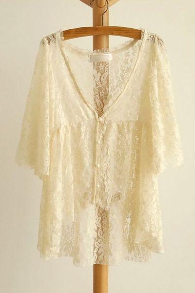 High-Low Lace Floral Cardigan Top OASAP.com