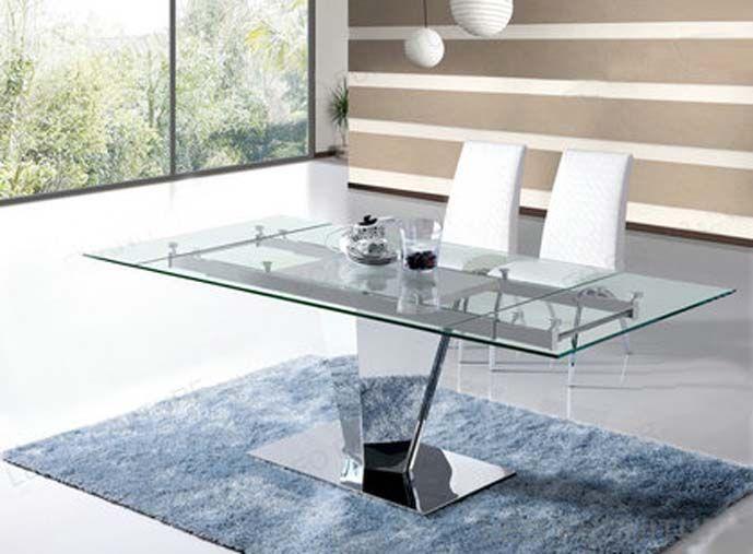 Mesas de comedor extensibles prisma decoraci n beltr n tu tienda online en mesas de acero y - Mesas de comedor de cristal y acero extensibles ...