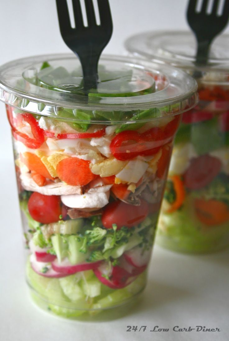 Chopped Salad in a Cup. Great for summer picnics! I would def. reverse the fork so that the handle is sticking out!