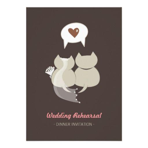 Funny Cats Wedding Rehearsal Invitation