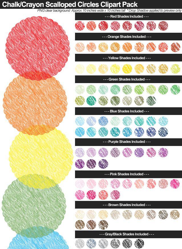 Chalk-Crayon Scalloped Circles Clipart Pack