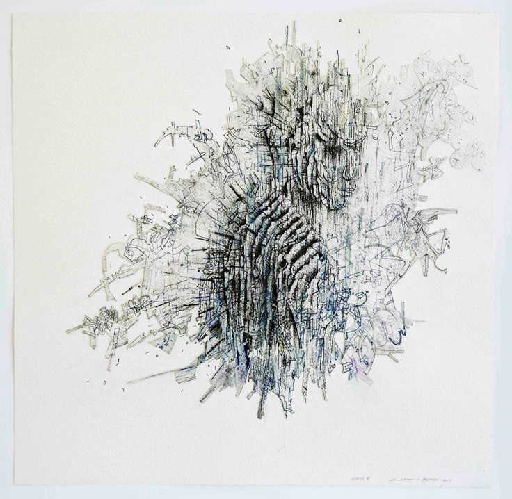 Noise II  2012  Fine liner, ink and charcoal   50 x 50 cm