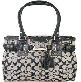 coach satchel bag outlet k4o6  Coach Hamptons Signature Carryall Bag Purse Tote 15665 Black White