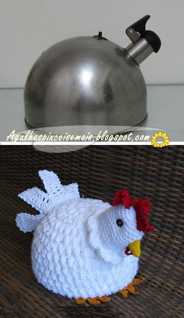 While this is actually a broken teapot upcycled for a doorstop... I want to make my teakettle a hennie pennie cozy cover with a handle space because it matches my chicken potholders over the stove.