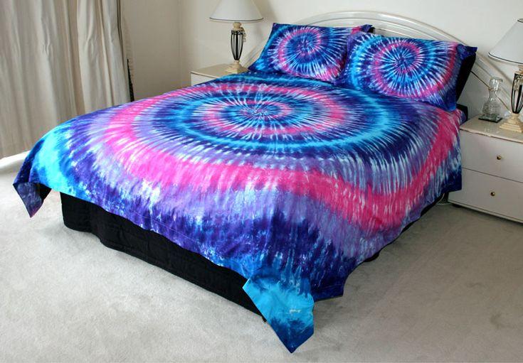 Blue & pink tie dye bedspread.