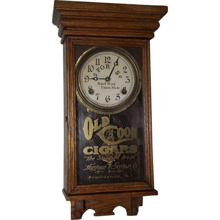 """Old Coon Tobacco * Salesman Sample"" Advertising Clock made by E. Ingraham Clock Co. with a Solid Oak Case Circa 1915 !!!"