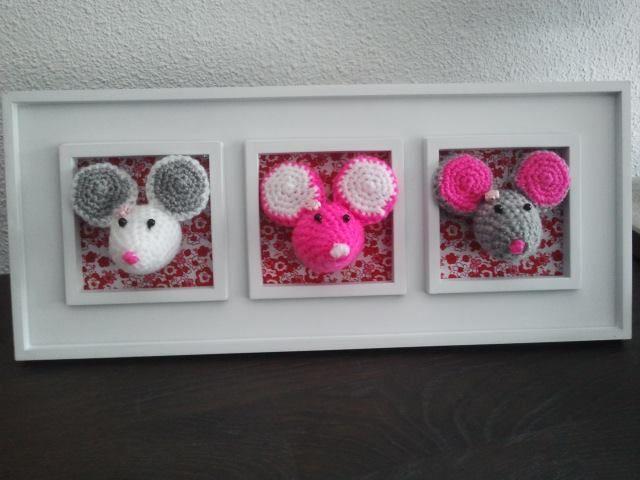 kraamcadeautje schilderij met 3 muisjes