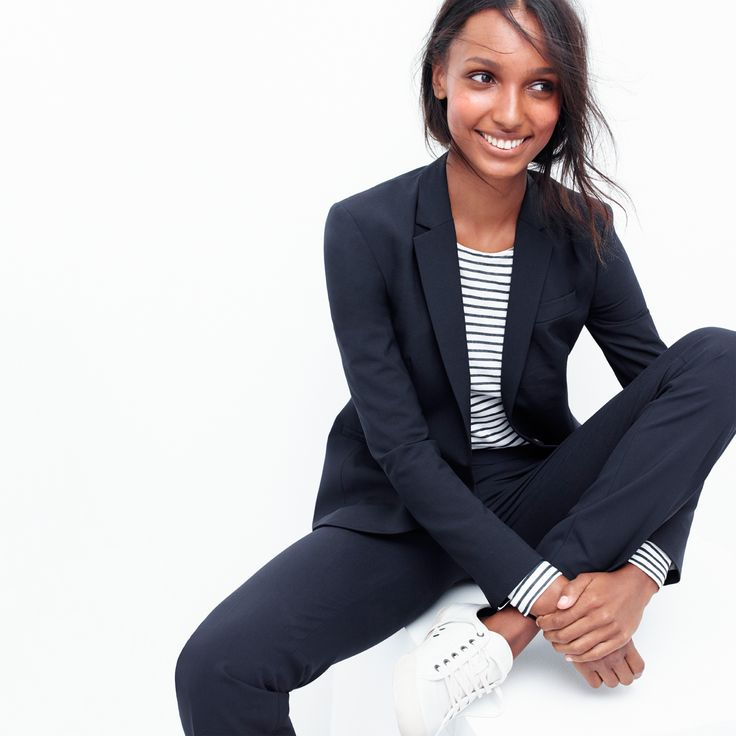 J.Crew Looks We Love: women's Campbell blazer, long-sleeve striped painter t-shirt, Campbell trouser and SeaVees® for J.Crew 06/67 Monterey sneakers in white leather.
