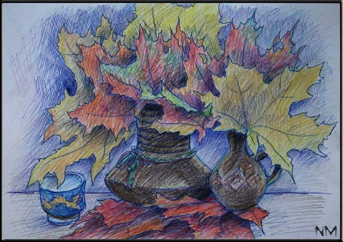 Рисунки цветными карандашами: натюрморт, цветы, деревья - Графика ...
