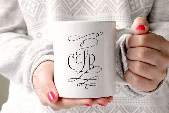Cute Cursive Monogrammed Coffee Mug - Tea cup - wedding gift - Bridal Shower - coffee cup - cute brides gift - birthday present - kate spade