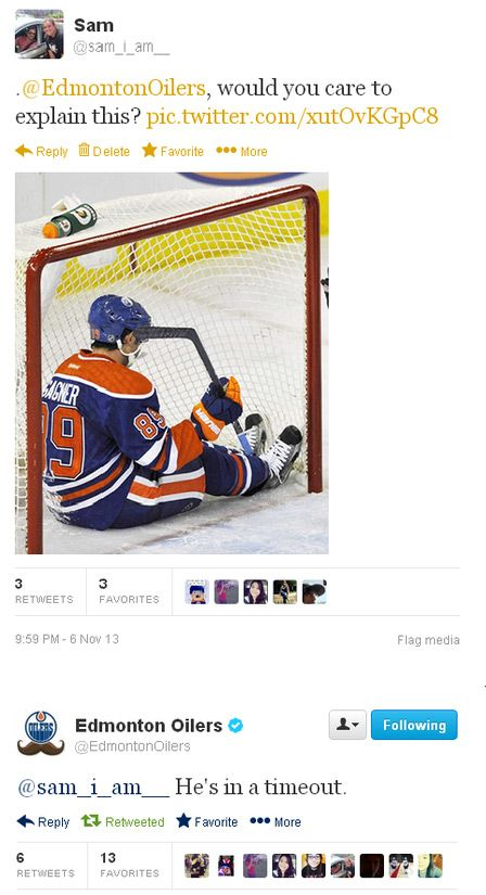 Only hockey players take a time out in the net.... :)