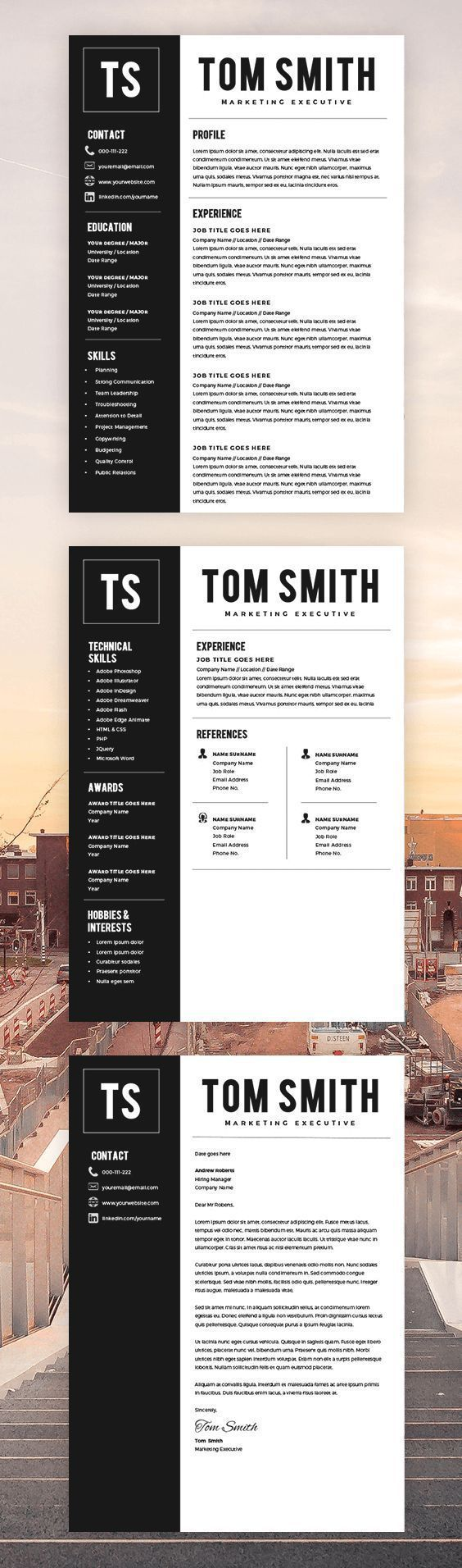 Two Page Resume Template - Resume Builder - CV Template - Free Cover Letter - MS Word on Mac / PC - Sample - Instant Download