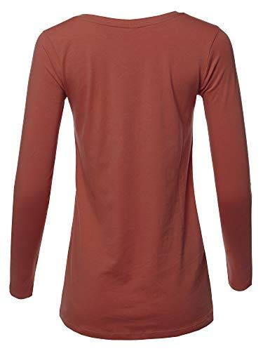 d077be0c3947d7 A2Y Women's Basic Solid Soft Cotton Long Sleeve V-Neck Top T-Shirt (S - 3XL)