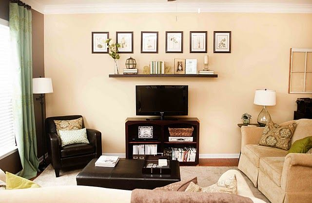 love this idea -could put floating self and row of picture frames above our bed