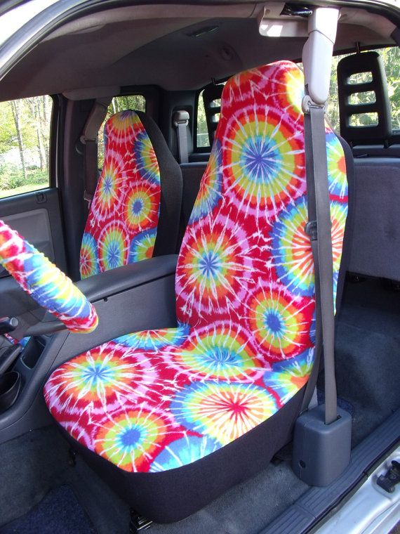 """1 Set of  That""""s is the Tie Dye Color Print Car Seat Covers and Steering Wheel Cover, Custom made."""