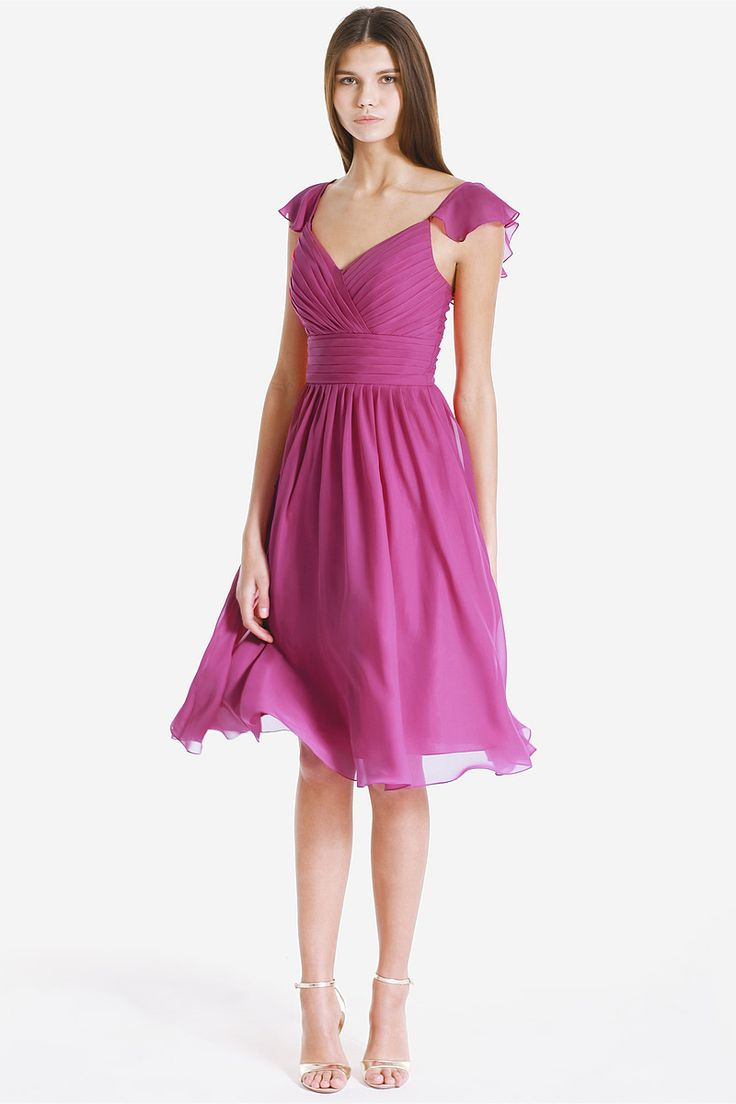 26 best bridesmaid dress pili images on pinterest marriage a line v neck fuchsia chiffon knee length bridesmaid dress ombrellifo Choice Image