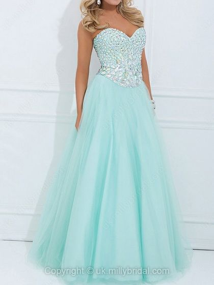 A-line Sweetheart Tulle Satin Floor-length Rhinestone Prom Dresses -USD$178.32