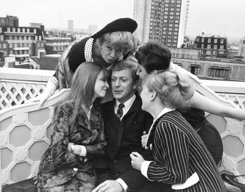 """lastfamous: """"Michael Caine. Jane Asher. Shelley Winters. Vivien Merchant. Julia Foster. On the set of Alfie. 1965/66. """" July 5, 1965 - Pre-production pics of the cast of Alfie at a London's roof top patio. Date according to REX FEATURES."""