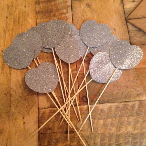 12 Silver Sparly Hearts on Sticks by JessieLouise22 on Etsy