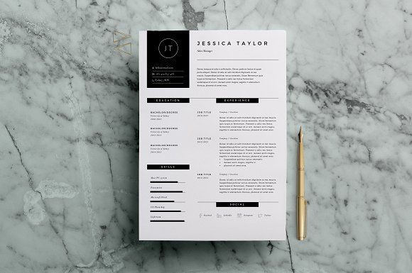 Resume Template 3 Page | CV Template by The Template Depot on @creativemarket Ready for Print Resume template examples creative design and great covers, perfect in modern and stylish corporate business. Modern, simple, clean, minimal and feminine layout inspiration to grab some ideas.