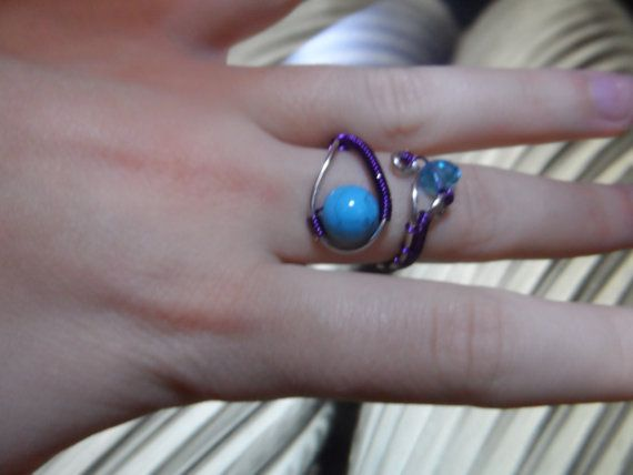 Wire wrapped ring with turquoise and czeh by UniqueFantasies