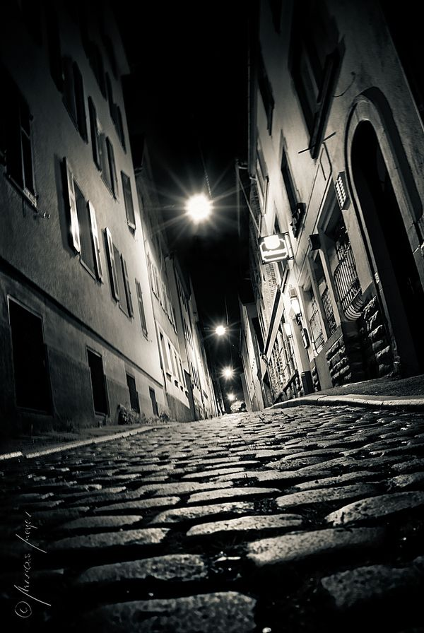 "the red-light district of stuttgart, 2:11 am ""Cité Noir"" by Marcus Meyer, via Behance"