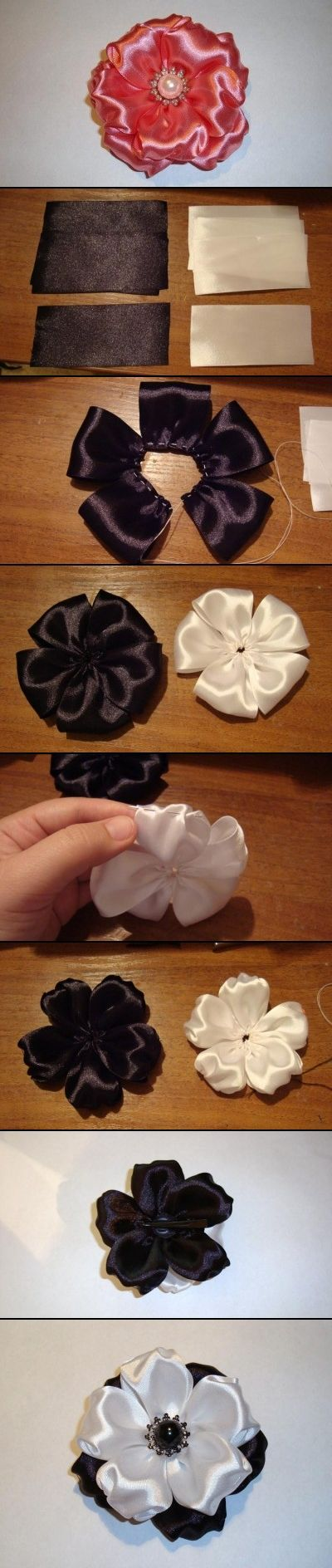 Ribbon flowers.  Really cute with the shirring on the tips of the petals.