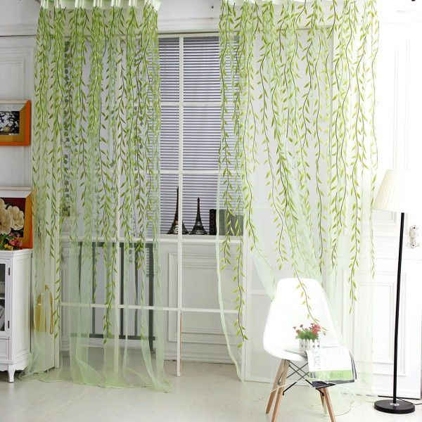 2017 Hot Sale Green Purple Sheer Curtain Willow Leaf Tulle Window Voile  Curtains For Living Room Kitchen Home Textile