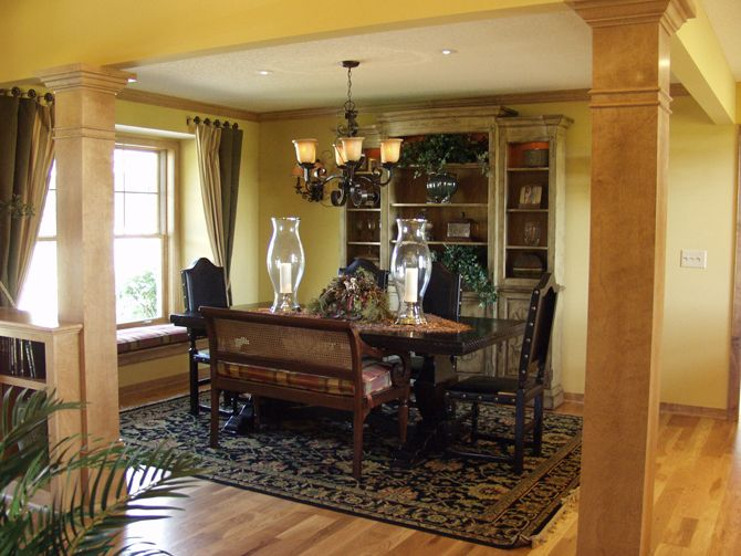 Superb Tuscan Style Dining With Stone Columns, Bench Seating, Dining Room, Opened Dining  Room, And Traditional Rug