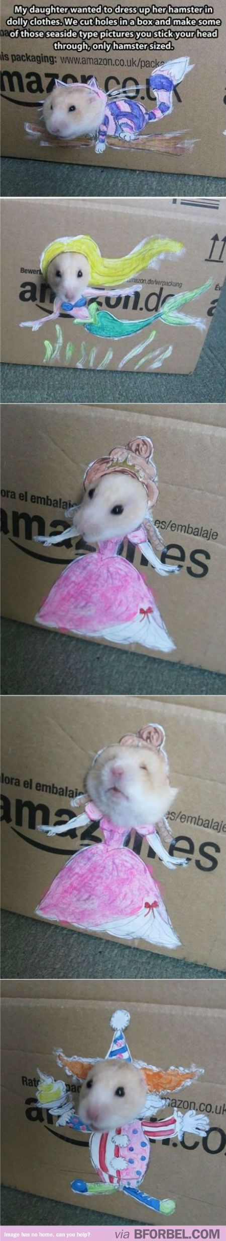 """Little Girl Finds An Awesome Way To """"Dress Up"""" Her Hamster…"""