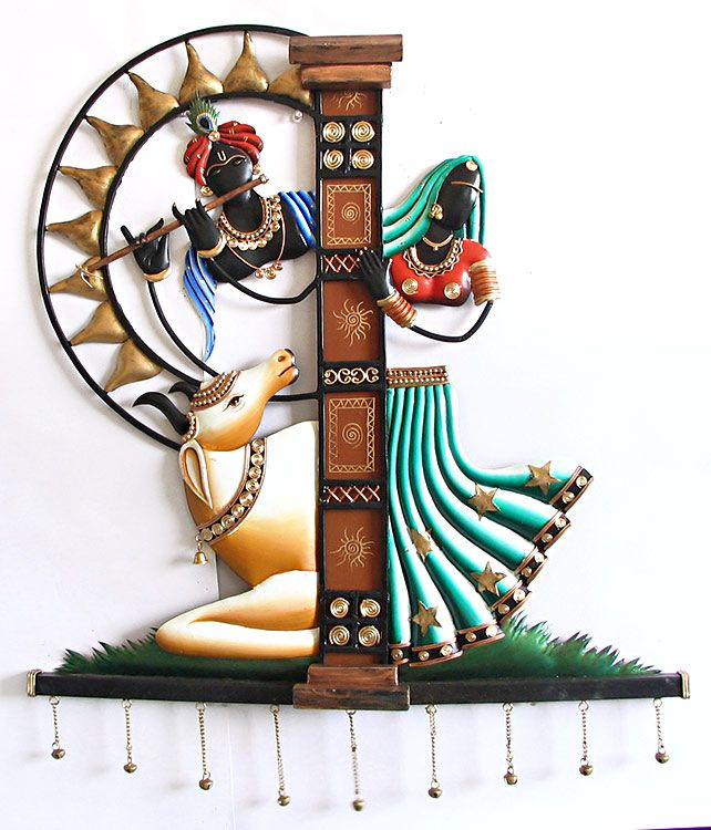 Radha and Krishna with His Cow - Wall Hanging (Wrought Iron))