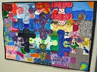Art Puzzle: give each student a pre-cut puzzle piece and have them paint/draw on it, then put them together to make a mural.