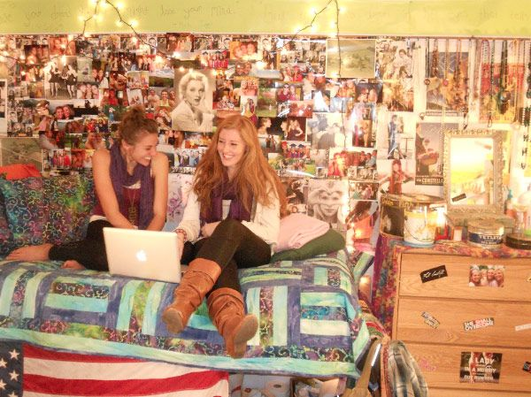 Eclecticly decorated dorm room at St Lawrence University