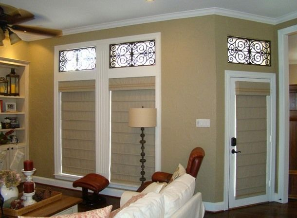 Roman Shades For French Doors | Roman Shades For Sliding French Patio Doors    LOVE NOT ONLY THE ROMAN SHADES, BUT ALSO THE WROUGHT IRON DECORATIVE U2026