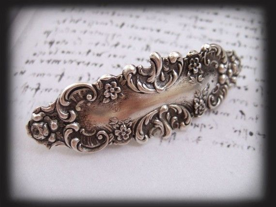 ANTIQUE SILVER VICTORIAN BARRETTE