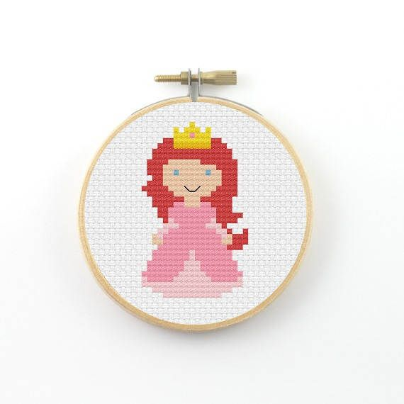 Pink princess cross stitch pattern, princess pdf pattern, pixel people cross stitch, mini cross stitch, girl room decor, fairy tale – nikk barcelos