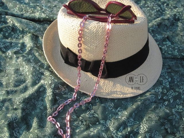 Pink metallic chain. Best summer accessories.