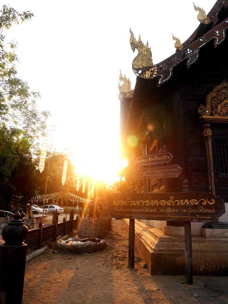 Sunset at the wooden temple Wat Pan Tao, Chiang Mai, Thailand