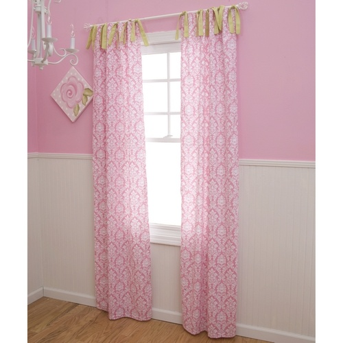 Candy Pink Damask Drapes Girl Nursery Curtains In Pink And White Damask Carousel Designs