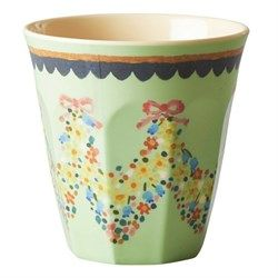 Rice - Medium Melamine Cup with Mint Flower Print