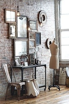 chair + mirror wall.
