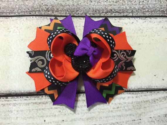 Hey, I found this really awesome Etsy listing at https://www.etsy.com/listing/460172440/halloween-hair-bow-minnie-mouse-hair-bow