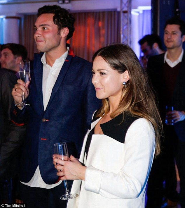 Going public: Made In Chelsea's Louise Thompson and Andy Jordan made their debut as a couple at the Jaro.com launch at London's One Marylebone on Wednesday night