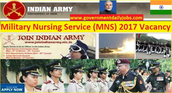 Indian Army MNS Recruitment 2017 Apply for 210 B. Sc Nursing Jobs