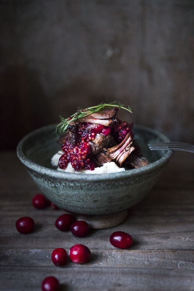 Cranberry Beef Pot Roast with Thyme, Horseradish Mashed Potatoes and Cranberry Port Reduction Sauce