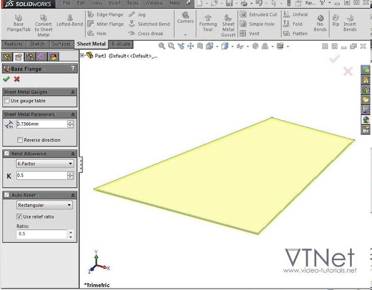 SolidWorks Tutorials Q&A - How do I create a V-shaped Sheet