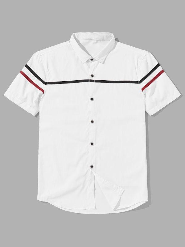 929f8cece7 Men Varsity Striped Shirt -SheIn(Sheinside) | Clothes in 2019 ...